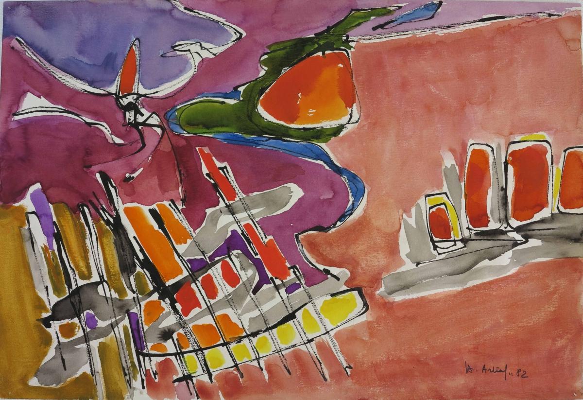 Pittura su carta, paesaggio -3