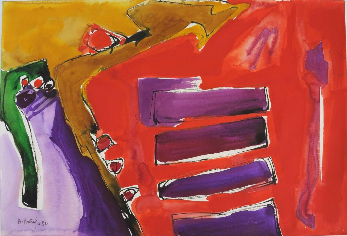 Pittura su carta, paesaggio -4