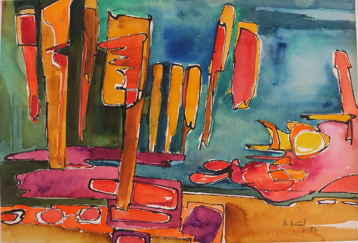 Pittura su carta, paesaggio -5